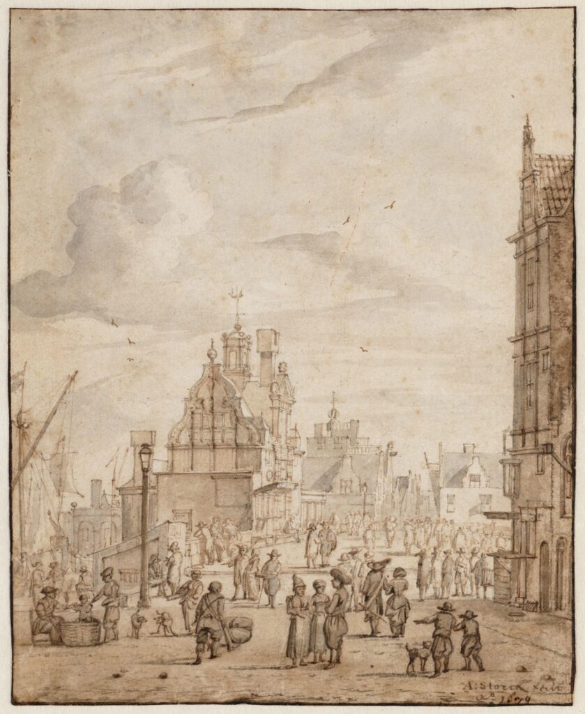 Street scene of New Bridge (seen to the east). Abraham Storck, 1679.