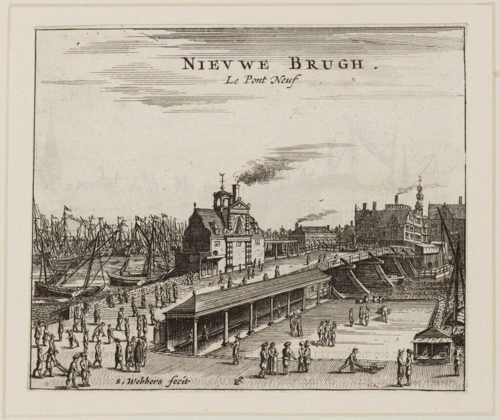 The New Bridge over Damrak, with Amsterdam's harbor on the left. S. Webbers, 1665.
