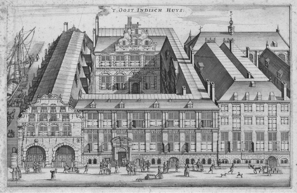 East India House on Oude Hoogstraat in Amsterdam. This was the Amsterdam branch company headquarters. Share traders had to appear before the bookkeeper and two directors in this building if they wanted to transfer a share. Etching by Olfert Dapper (1663).