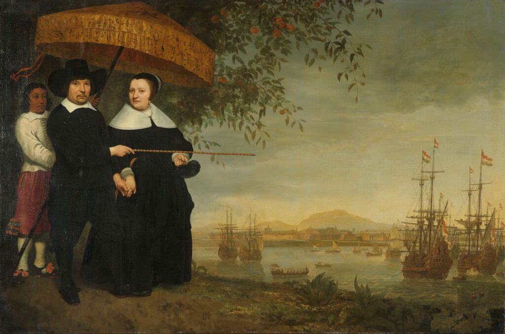 A merchant of the VOC (probably Jacob Mathieusen), his wife and a slave look out over Batavia (modern-day Jakarta in Indonesia) and Dutch East Indiamen. Painting by Aelbert Cuyp, c.1640-1660.