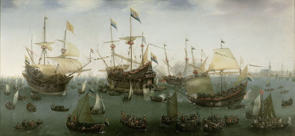 The fleet of the 'Second Expedition' of the Old Company returns to Amsterdam, 19 July 1599. Painting by Hendrik Cornelisz. Vroom (1599). Rijksmuseum Amsterdam