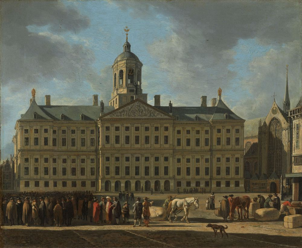 The Town Hall on Dam Square, Amsterdam. Some of te people in the foreground may have been negotiating a share deal. Painting by Gerrit Adriaensz. Berckheyde, 1672.